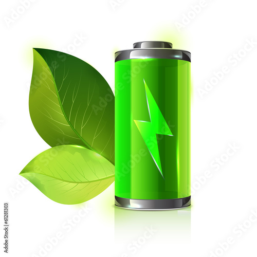 Green energy battery with leaves - vector illustration