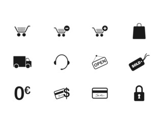 E-COMMERCE Icons (customer service sales basket shopping cart)