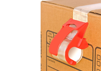 Cardboard box,adhesive tape roll dispenser,isolated on white