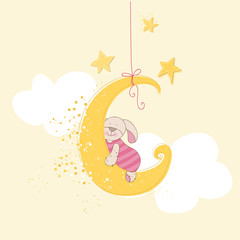 Baby Shower or Arrival Card - Sleeping Baby Bunny - in vector