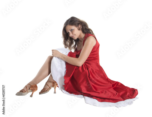 Beautiful woman sitting on the floor