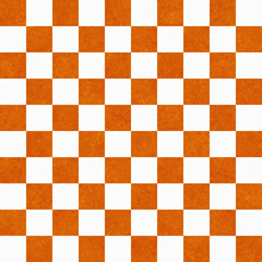 Bright Orange and White Checkers on Textured Fabric Background