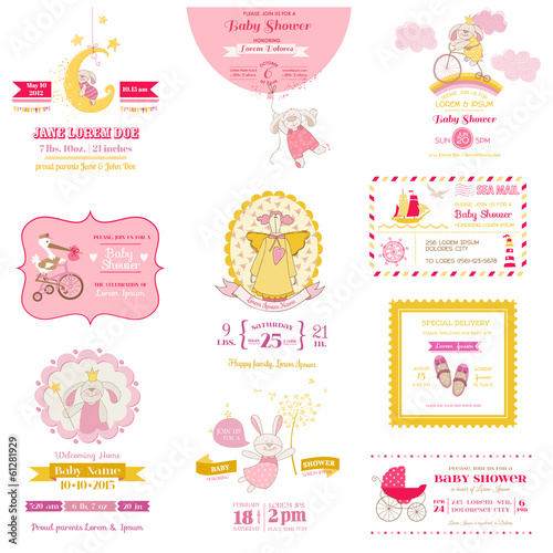 Set of Baby Shower and Arrival Cards - for design and scrapbook