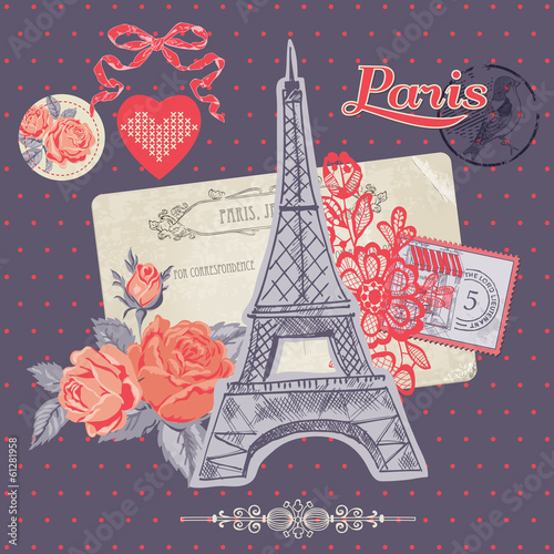 Scrapbook Design Elements - Paris Vintage Card with Stamps