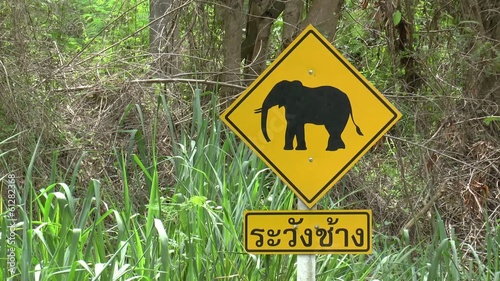 Road Sign Beware of Elephants