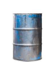 Old metal oil barrel on white background
