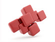 Red abstract cubes background isolated