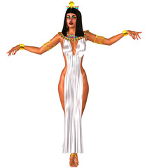 White dress, Egyptian woman and gold crown.