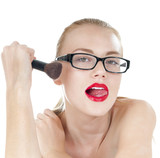 Smart beautiful girl with  a  brushes for makeup wearing black g