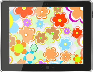 Tablet pc with flowers on screen, digital smart phone
