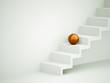 Orange sphere on stairs