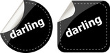 darling word on black stickers web button set, label, icon poster