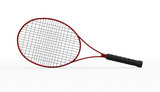 Red tennis racket isolated on white