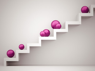 Many pink spheres on stairs