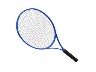 Blue tennis racket isolated on white