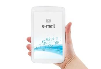 e-mail mobile app on modern white tablet