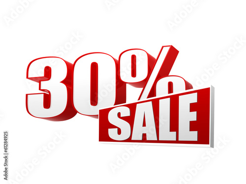 30 percentages sale in 3d letters and block