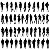 Fototapety Silhouettes of happy young girls  and men.