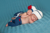 Newborn Twin Babies in Sailor Costumes
