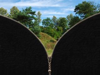 Zipper and rural summer landscape