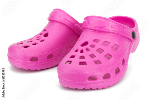 Children's rubber sandals isolated on the white background