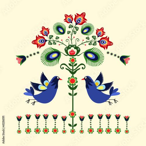 wzór haftu z ptakami © bridzia2