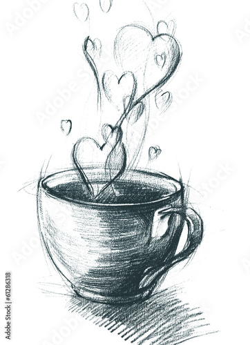 Cup of Tea with Steam hearts, freehand sketch drawing