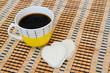 Постер, плакат: Чашка кофе и печенье в форме сердца