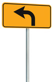 Left turn ahead route road sign perspective, yellow isolated