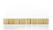 Row of eight blank wooden blocks