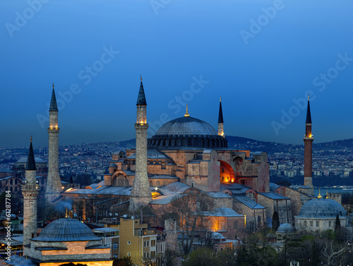 Night view of Hagia Sophia in Istanbul.Turkey.