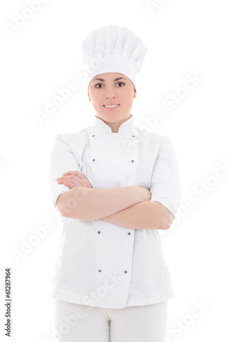 portrait of young cook woman isolated on white