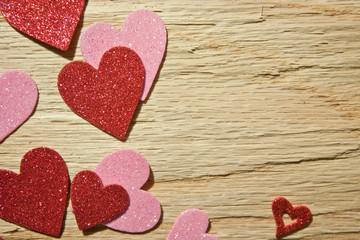 Hearts on Textured Wood