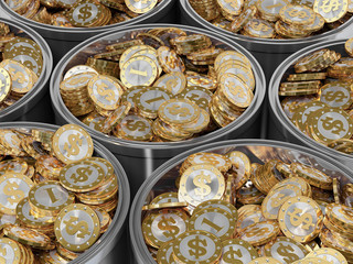 Golden coins in a bucket