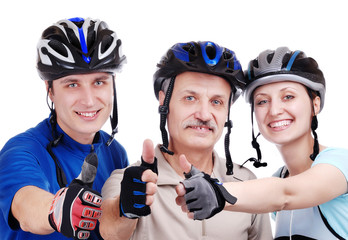 Happy cyclists family  isolated on white