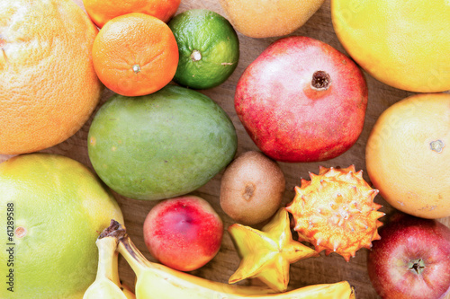Background of assorted citrus fruit