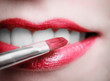 Closeup female red pink lips with makeup lipstick brush