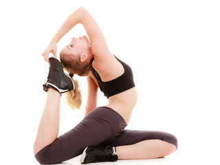 sporty girl doing stretching exercise. Healthy lifestyle