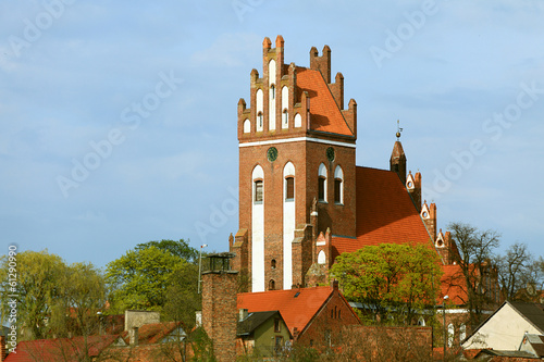 Gniew town with teutonic castle at Wierzyca river, Poland