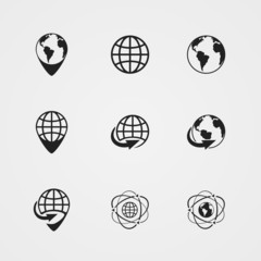 vector globe earth icons set