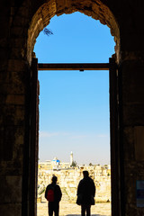 Men watching Amman viewed from Amman Citadel in Amman, Jordan