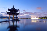 pavilion at nightfall in west lake ,hangzhou ,China