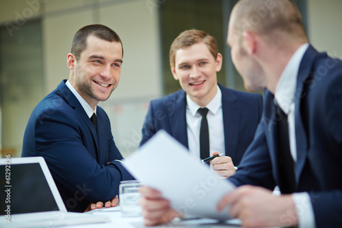 Businessmen interacting