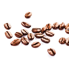 Roasted Coffee beans Isolated on white background macro.