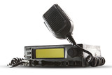 cb radio  transceiver station and loud speaker holding on air on