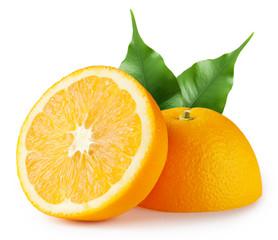 Juicy tropical orange with leaves