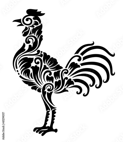 Aluminium Floral Ornament Rooster Floral Ornament Decoration