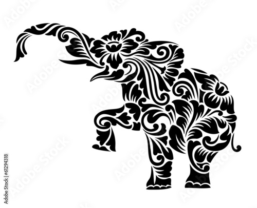 Aluminium Floral Ornament Elephant Floral Ornament Decoration
