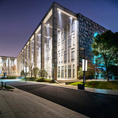 exterior of modern building at night