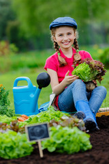 Gardening, planting, lettuce - girl in vegetable garden